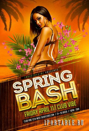 Spring Bash psd flyer template