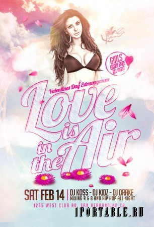Love is in the air psd flyer template