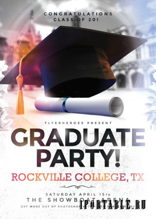 Graduate Party psd flyer template