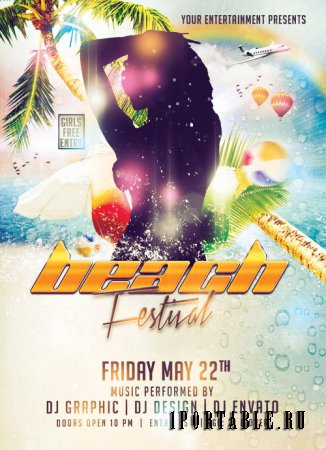 Beach Festival psd flyer template