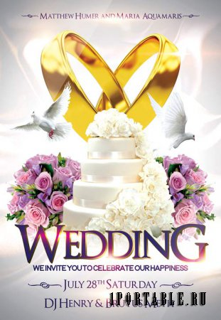 Wedding 2 psd flyer template